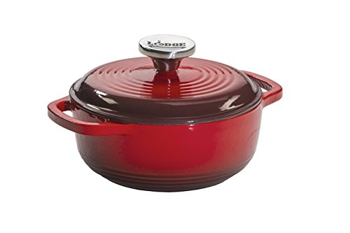 Cookware Enameled Iron (Lodge EC1D43 Enameled Cast Iron Dutch Oven, 1.5-Quart, Red)