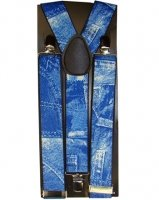 [Outer Rebel Blue Denim Graphic Suspenders] (Farmers Dress Up Costumes)