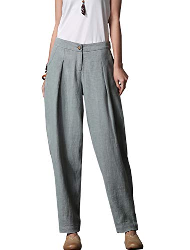 Minibee Women's Casual Linen Pants Elastic Waist Tapered Pants Trousers with Pockets Light Blue XL by Minibee