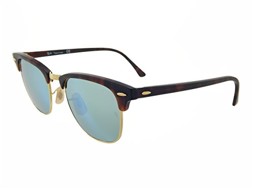 New Ray Ban Clubmaster Flash RB3016 114530 Tortoise/Gold/Grey-Green Mirror 51mm - Clubmaster Ban Gold Tortoise Ray