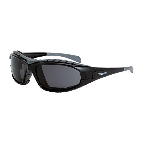 CrossFire Diamondback smoke anti-fog lens, shiny black frame, foam - Sunglasses Lined Foam