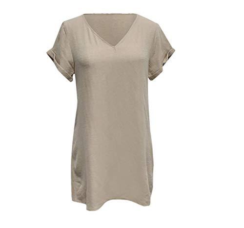 Weiliru Women's Summer Short V-Neck Swing Shift Dress Plain T Shirt Dress - After Six Bridesmaid Dress Satin