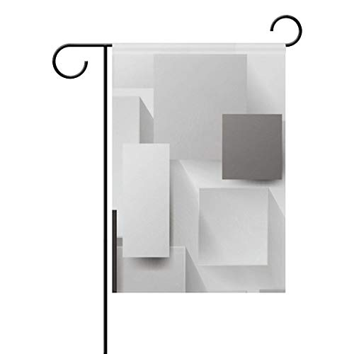 AfdsaswfvsJj and White Gray Squares Three Dimensional Graphics Welcome Personalized Garden Flag Vertical Double Sided Yard Flags Outdoor Decorative House Yard Flag 28x40 Inch Polyester ()