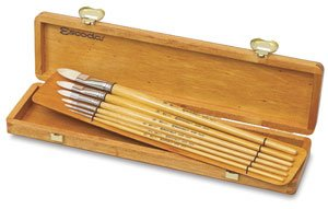 Escoda Brush Clasico Wood Box Set Filbert by Escoda