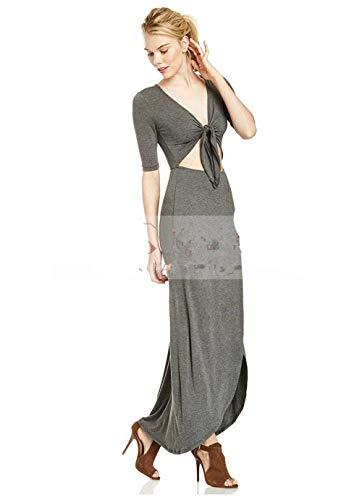 Grey Dark Mujeres V Atractivo Partido La Superior De Del Largo Fractura Maxi Las Vestido Zier qZvOf6w