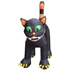 Durable The Holiday Aisle Halloween Inflatable Animated Huge Black Cat Decoration, 11' D