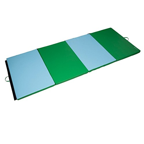 4'x10'x2'' Folding Gymnastics Mat Gym Tumbling Pilates Yoga Stretching Pad Aerobics Stretching Thick Exercise Fitness Floor Mat Foldable Panel Durable PU Leather Cover Versatile Use by HPW