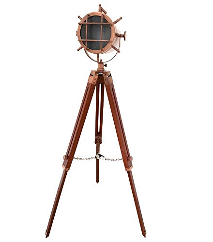 Vintage Antique Copper Mid Century Searchlight LED Maritime Spotlight Wooden Adjustable Floor Standing Lamp & Lighting