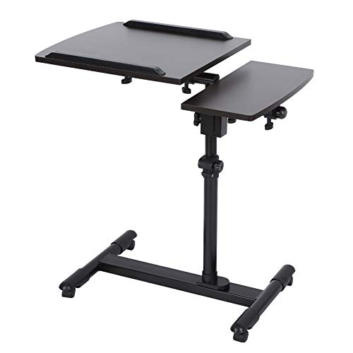 (Height Adjustable Mobile Laptop Stand Desk, 360° Swivel Medical Overbed Table with Caster Swivel Wheels Height Adjustable from 25'' to 37'' Mobile Computer Desk Cart)