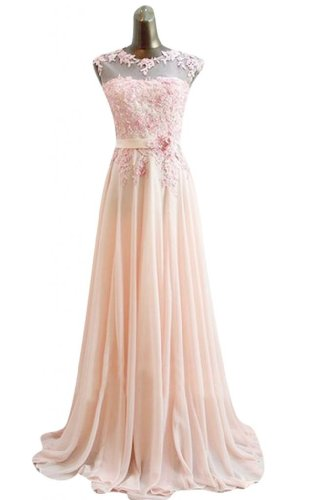 Emma Y Romantic Chiffon Evening Gowns Appliques Long Prom Dress -US Size 22W Pink