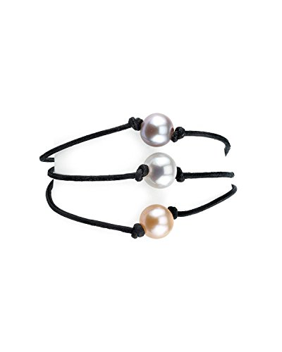 - THE PEARL SOURCE 8-9mm Genuine Multicolor Freshwater Cultured Pearl Triple Strand Leather Bracelet for Women