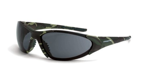 Crossfire Safety Glasses Core Smoke Lens, Military Green Cam