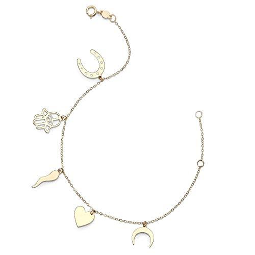 14k Yellow Gold Moon Heart Horseshoe Hamsa Italian Horn Good Luck Charms Bracelet, 7