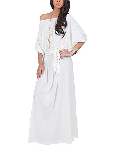 Vestido Para Mujer Largo Sin Hombro De Fiesta Cóctel Tallas Grandes Elegante Blanco