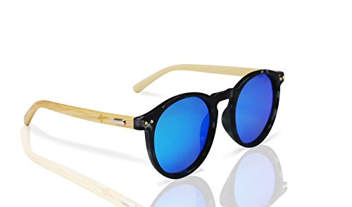 388fbe4be6 Polarized Round Bamboo Sunglasses for Men and Women
