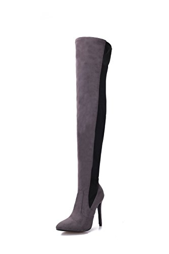 Sandalette-DEDE Botas de tacón Alto Sexy de Europa y América Botas de Rodilla de Gran tamaño, Botas de Gamuza de Gamuza Dark gray