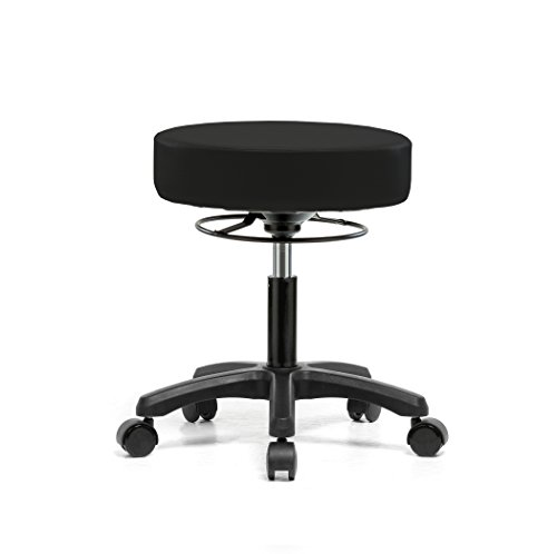 PERCH Life Rolling Height Adjustable Stool for Carpet & Linoleum | Desk Height 18-23 inches| 250-pound Weight Capacity | 12 Year Warranty (Black Fabric)  ()