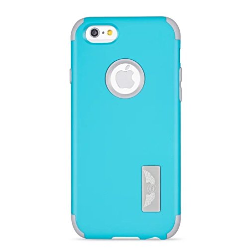 iPhone 6 Cas, iPhone 6S Case, Lantier Slick [Angel Eyes Series] hybride Durable 3 en 1 PC + silicone souple Design Adhésif pour pare Slim Hard Cover affaire pour Apple iPhone 6 / 6S bleu ciel gris +
