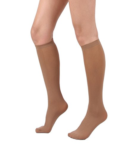 Women's Semi Opaque Knee High Trouser Sock 3pair / 6pair (One Size : XS to M, 3pair-Suntan)