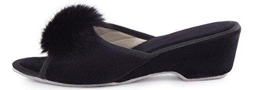 Noir Ladeheid LABR301 Fourrure Mules Été Femme Chaussons Semelle Claquette Pantoufles Chaussures avec xSPZFwqcrx