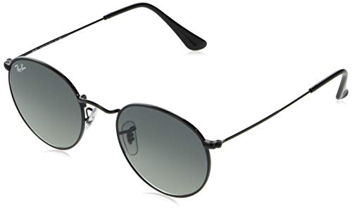 Ray-Ban RB3447N Round Flat Lenses Metal Sunglasses, Black/Gray Gradient, 53 mm