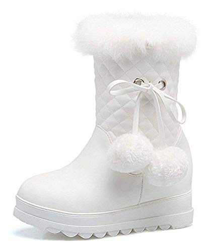 (Unm Women's Pompoms Quilted Round Toe Winter Booties Inside Zip up Elevator Mid Heel Platform Snow Ankle Boots)