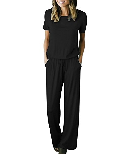Auxo Womens Jumper Wide Legs Short Sleeve One Piece Jumpsuit Romper with Pockets Black L (Black Long Jumper)