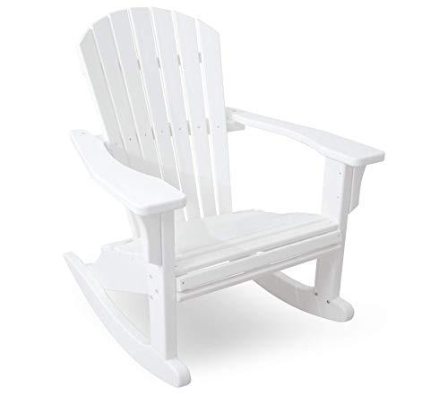 (Pоlywооd Patio Outdoor Garden Premium Seashell Rocker, White)