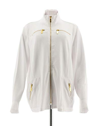 Bob Mackie Clothes - Bob Mackie Ponte Knit Jacket Zipper White L New A288444