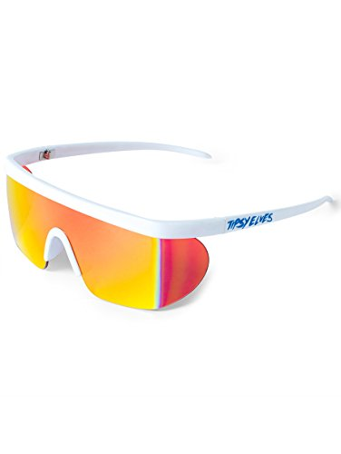 Unisex Performance Sport Style Retro Mirrored Sunglasses (White Miami Ice, ()