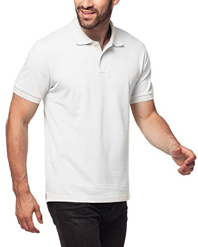 (LAPASA Polo Shirt for Men, 100% Cotton, Piqué Knitted Fabric (no Jersey). Longer Back-Hem, Short Sleeve M19 (White, L/See Sizechart))