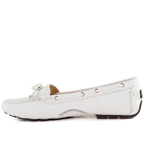 Marc Joseph New York Donna Vera Pelle Made In Brasile Casual Cipresso Hill Driver Bianco Granuloso In Vera Pelle