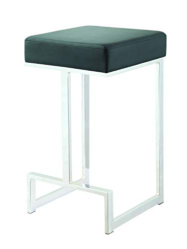 Square Counter Stool Black and Chrome ()