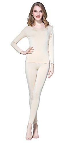 Vinconie Women Base Layer Thermal Shirt Long Underwear Set Beige Thermo Sport
