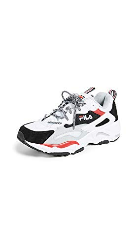 Fila Women's Ray Tracer Sneakers, WHT/BLK/HRIS, White, 10 M US