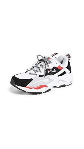 Fila Women's Ray Tracer Sneakers, WHT/BLK/HRIS, White, 9.5 M US