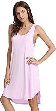 WiWi Womens Bamboo Pajamas Soft Nightgowns Lightweight Sleepwear Sleeveless Scoop Neck Loungewear Plus Size Sl