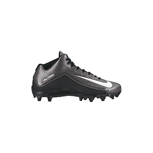 Nike Men's Alpha Strike 2 Three-Quarter Football Cleat Black/Dark Grey/White Size 9 M US