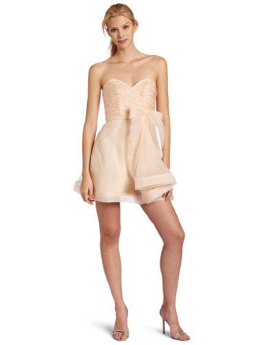 ABS Allen Schwartz Women's Strapless Flounce Skirt Dress, Light Peach, (Abs Silk Dresses)