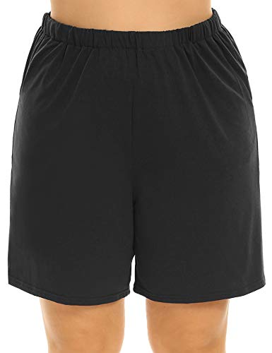 INVOLAND Plus Size Shorts Soft Sleep Pajama Shorts for Women Casual Loose Comfy Ladies Shorts with Pockets