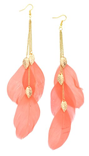 Long Chain Dangle Chandelier Style Three Feather Earrings Sexy Fashion Jewelry (Leaf Coral)