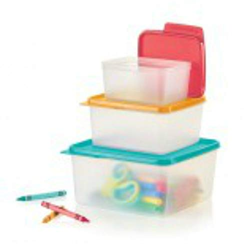 Tupperware Nesting Stackable Storage Square Containers 3 Piece Box Set with Multi-colored Lids Tupperware Keep Tabs -  1