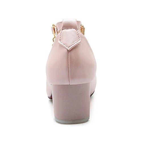 Coolcept Zapatos de Tacon Ancho Bajo para Mujer Pink