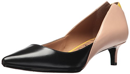 Calvin Klein Women's grayce Pump, Black/Sheer Satin/Limonata, 10 Medium US (Dress Calvin Satin Klein)