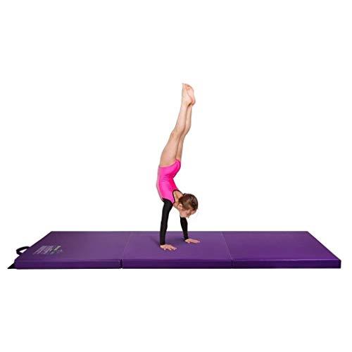 Crown Comfort Gymnastics Mat, 2′ x 6′ Tri Folding Tumbling Mats with Carrying Handles, Violet – – Purple