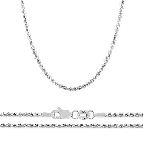 Orostar Sterling Silver 2mm Diamond-Cut Rope Chain Italian Necklace, 14-36 Inch (16) ()
