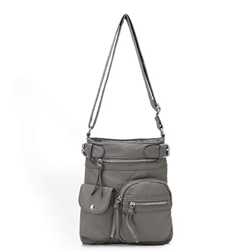 Soft Leather Crossbody Purse and Handbags Wallet Cute Small Crossover Bags with Pockets for Girl or Women Grey, Medium