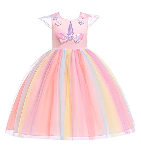 Flower Baby Girls Unicorn Costumes Sleeveless Knee Length Little Girl Cute Dresses Kids Headbands Pageant Princess Party for Wedding Tutu Tulle Dresses Size S(4) 3-4 Years Pink 110]()
