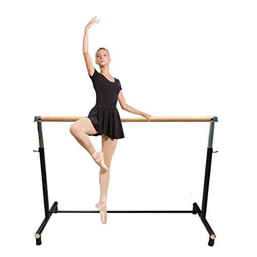 Ballet Barre Portable for Home or Studio, Freestanding Adjustable Bar for Stretch, Balance, Pilates, Dance or Active Workouts, Extra Lower Bar, Kids and Adults (Single Bar, Square)