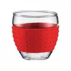 Bodum Pavina Espresso Glass - Silicone Grip - Red